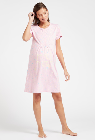 Printed Maternity Sleepshirt with Round Neck and Short Sleeves