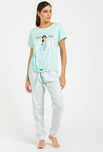 Jasmine Graphic Print T-shirt with Full Length Pyjama Set