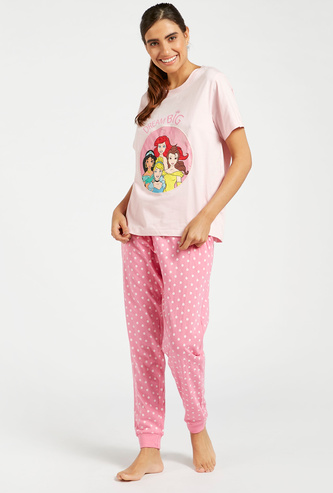 Disney Princess Print T-shirt and Full Length Pyjama Set