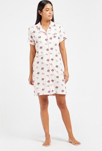 All-Over Print Sleep Dress with Spread Collar and Short Sleeves