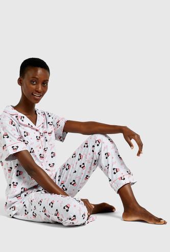 Mickey Mouse Print Short Sleeves Shirt and Full Length Pyjama Set