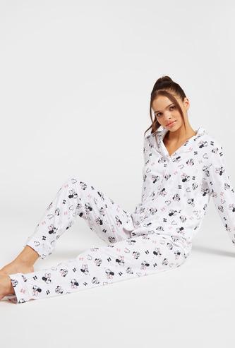 Minnie Mouse Print Long Sleeves Shirt and Full Length Pyjama Set