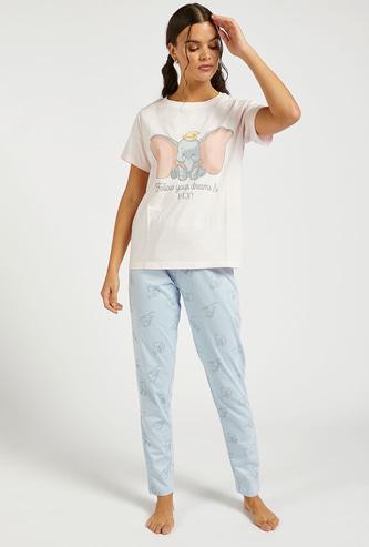 Dumbo Graphic Print Short Sleeves T-shirt and Pyjama Set