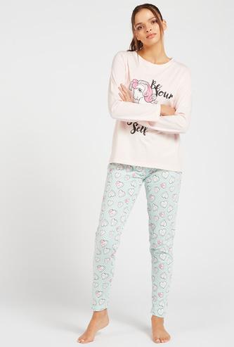 Printed Long Sleeves T-shirt and Full-Length Pyjama Set