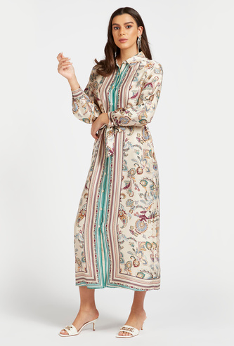 Printed Maxi Shirt Dress with Long Sleeves and Tie-Ups