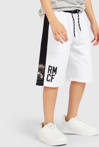 Real Madrid Print Shorts with Drawstring Closure