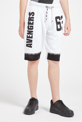 Avengers Print Shorts with Pockets and Drawstring