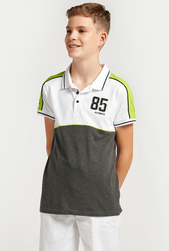 Textured Cut and Sew Polo Neck T-shirt with Short Sleeves