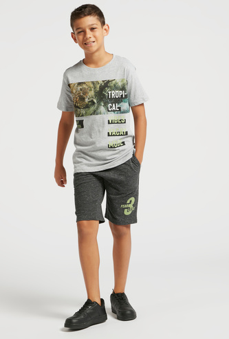 Graphic Print Short Sleeves T-shirt and Shorts Set