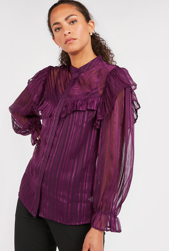 Striped Textured Mandarin Collared Top with Long Sleeves