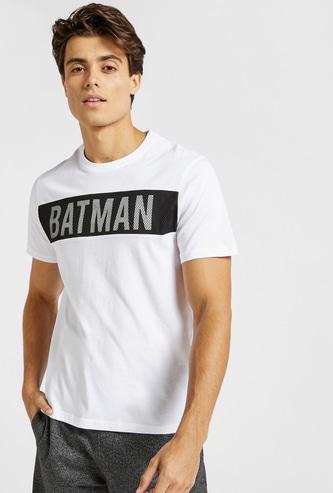 Batman Print Crew Neck T-shirt with Mesh Detail