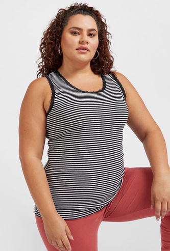 Striped Sleeveless Vest with Round Neck and Lace Detail