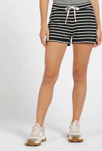 Striped Mid-Rise Shorts with Drawstring Closure