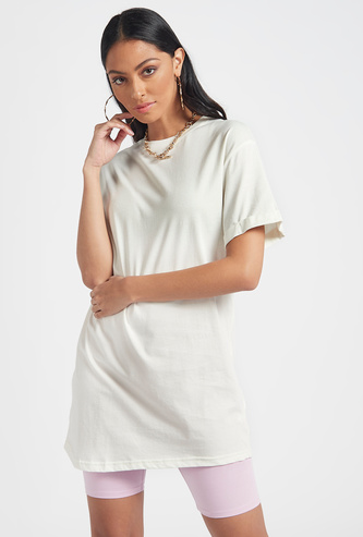Solid Longline T-shirt with Crew Neck and Short Sleeves