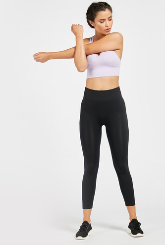 Solid Mid-Rise Cropped Leggings with Elasticised Waistband
