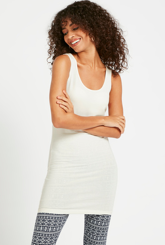 Solid Sleeveless Longline Vest with Round Neck