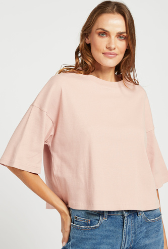 Ribbed T-shirt with Round Neck and Drop Shoulder Sleeves