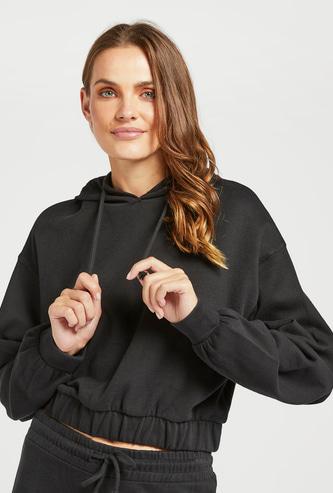 Solid Sweatshirt with Long Sleeves and Hood