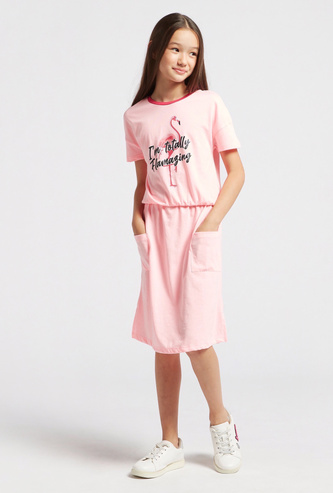 Flamingo Graphic Print Dress with Round Neck and Short Sleeves