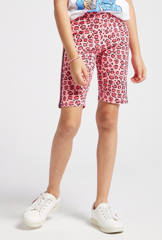 Animal Print Cycling Shorts with Tape Detail and Elasticised Waist
