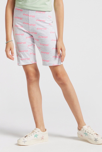 Text Print Cycling Shorts with Elasticised Waistband