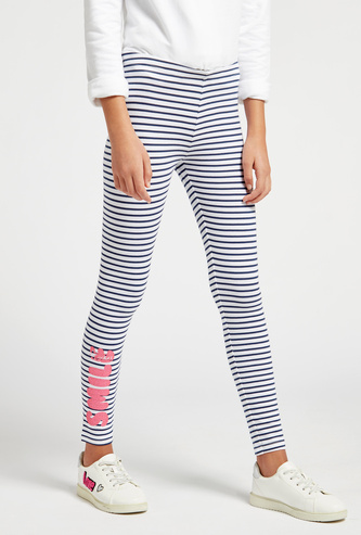 Striped Ankle Length Leggings with Elasticised Waistband