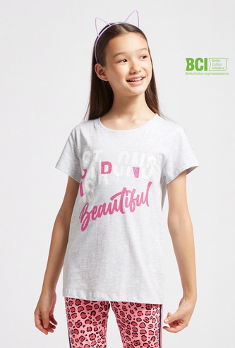 Slogan Print T-shirt with Round Neck and Short Sleeves