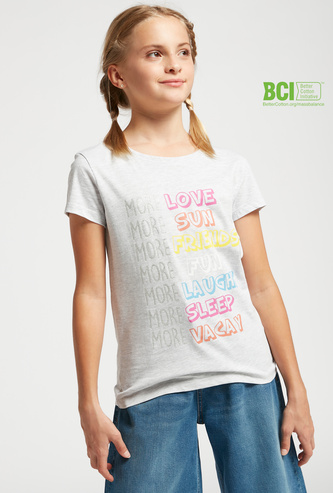 Text Print T-shirt with Round Neck and Cap Sleeves