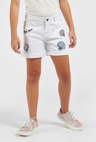 Solid Shorts with Sequin Embellished Shell Patches