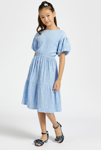 Textured Tiered Dress with Round Neck and Puff Sleeves