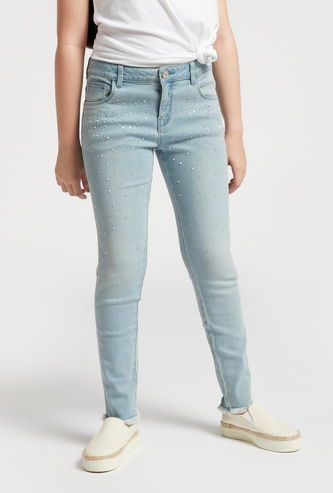 Embellished Detail Jeans with Pockets and Belt Loops