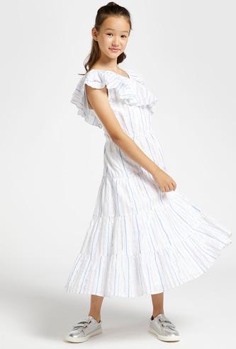 Lurex Striped Maxi Dress with Frills