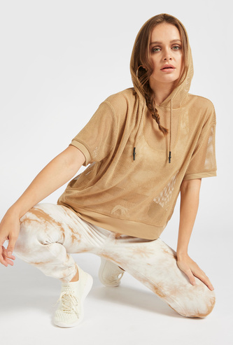 Mesh Top with Short Sleeves and Drawstring Hood