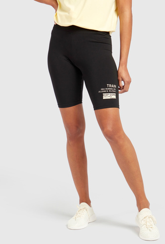 Slim Fit Graphic Print High-Rise Cycling Shorts with Elasticised Waist