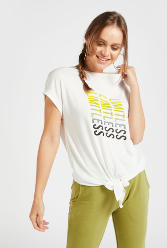 Graphic Print T-shirt with Crew Neck and Knot Detail