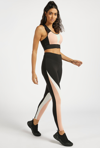 Slim Fit Colourblock High-Rise Leggings with Elasticised Waistband