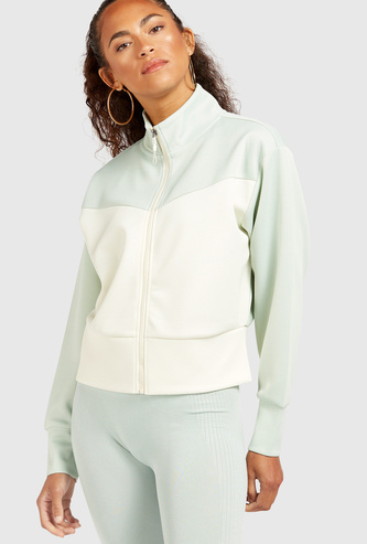 Solid High Neck Jacket with Long Sleeves