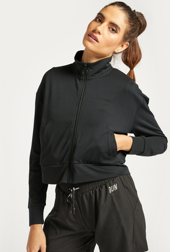 Solid Jacket with High Neck and Long Sleeves