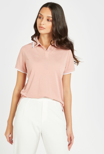 Slim Fit Solid Polo T-shirt with Short Sleeves