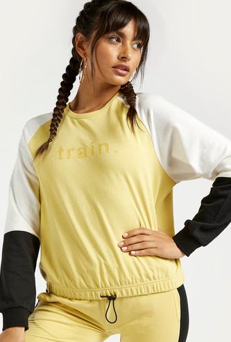 Colourblocked Printed Crew Neck Sweatshirt with Raglan Sleeves