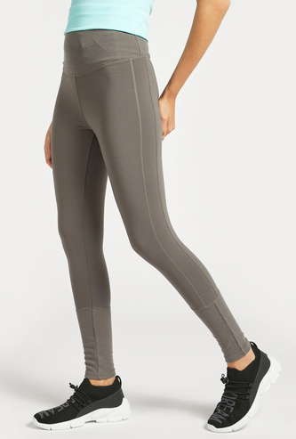 Slim Fit Solid High-Rise Leggings with Ribbed Detail