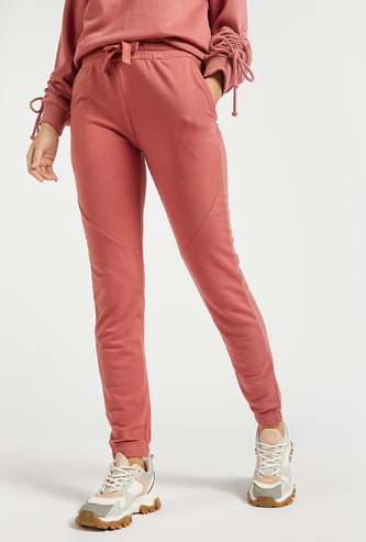 Solid Mid-Rise Jog Pants with Panel Detail and Elasticised Waistband