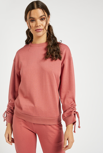 Solid Sweatshirt with Crew Neck and Ruching Detail Sleeves