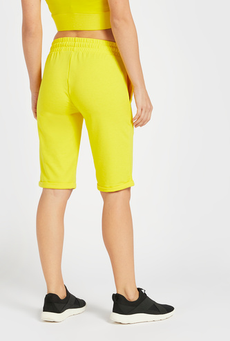 Slim Fit Text Print Mid-Rise Shorts with Drawstring Closure
