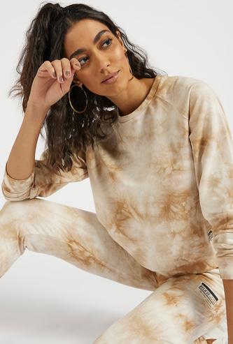 Tie-Dye Print Crew Neck Sweatshirt with Long Sleeves