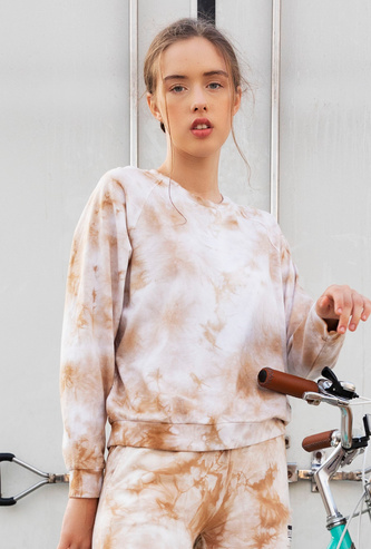 Tie and Dye Print Crew Neck Sweatshirt with Long Sleeves