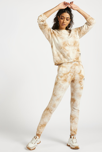 Tie-Dye Jog Pants with Patch Detail and Drawstring Closure