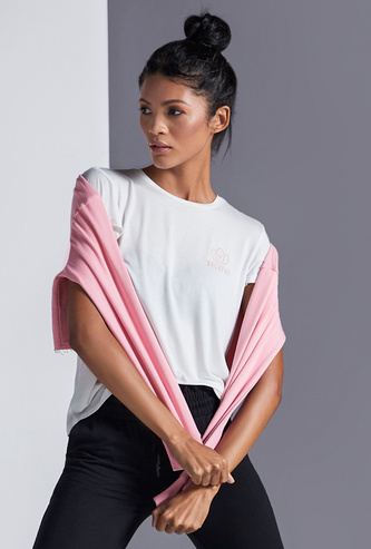 Solid Soft-Touch T-shirt with Crew Neck and Cap Sleeves