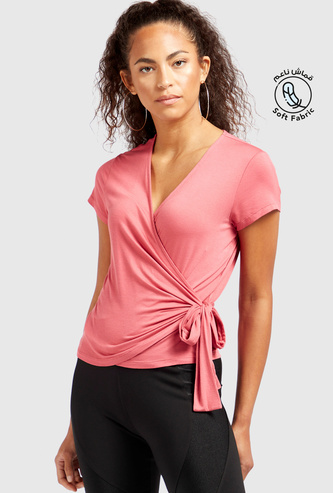 Solid Soft-Touch Wrap Top with V-neck and Short Sleeves