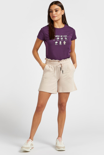 Solid Mid-Rise Shorts with Paperbag Waistband and Drawstring Closure